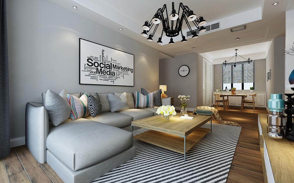 客厅沙发背景:沙发墙采用了简约风格常用的手法,轻装修重装饰,挂画来点缀。
