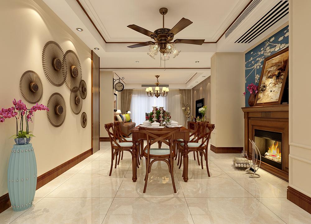 餐厅的复古吊扇极具风情,双用设计别出心裁。