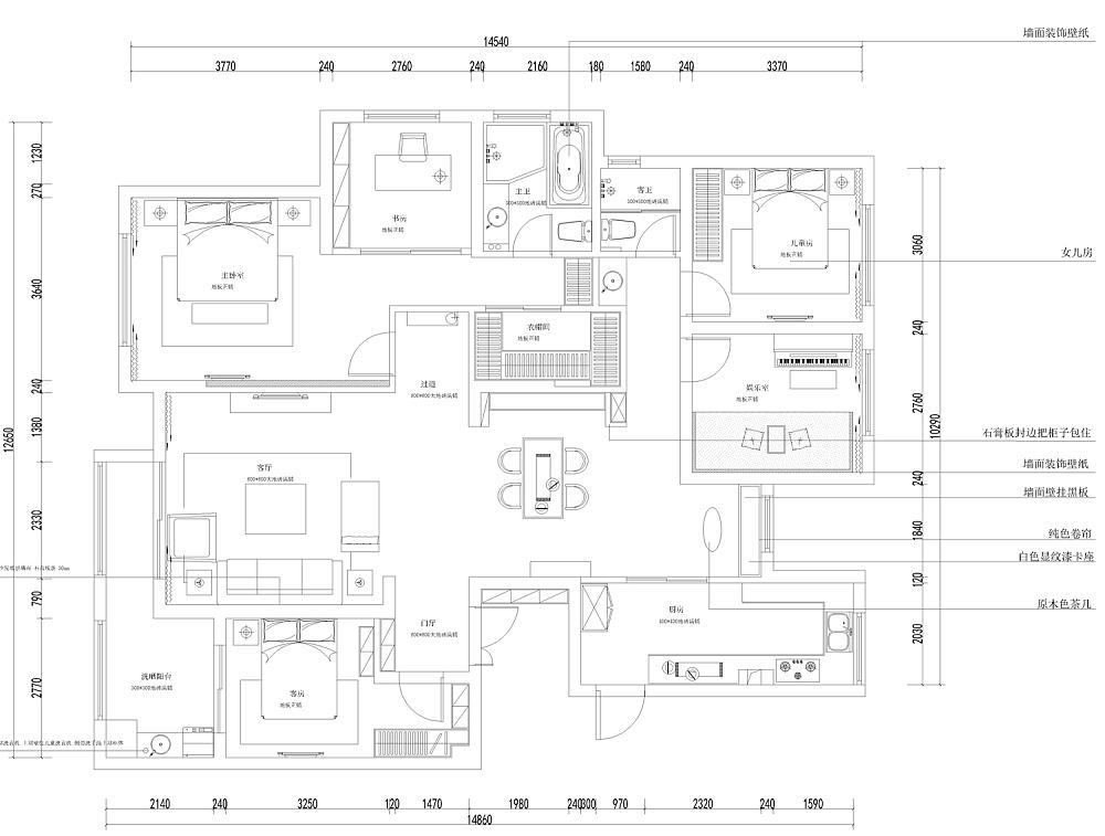 该户型各个空间都很方正,便于后期家具的摆放;三室两厅两卫,功能间完善,需求基本可以得到满足;厨房紧邻餐厅,方便做饭就餐;主卧和书房、主卫位于同一空间,后期居住生活方便。