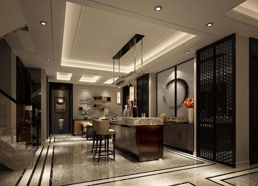 地下室:地下室作为一个休闲娱乐空间则更多采用了更具现代感的设计风格,现代化的装饰手法与家具和中式古典的特色元素冲撞在一起,既满足了生活的实用性也满足了最时尚的追求,使整个空间极具层次和美感。